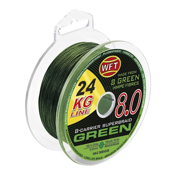 Wft splétaná šnůra kg 8.0 zelená - 600 m - 0,22 mm - 29 kg