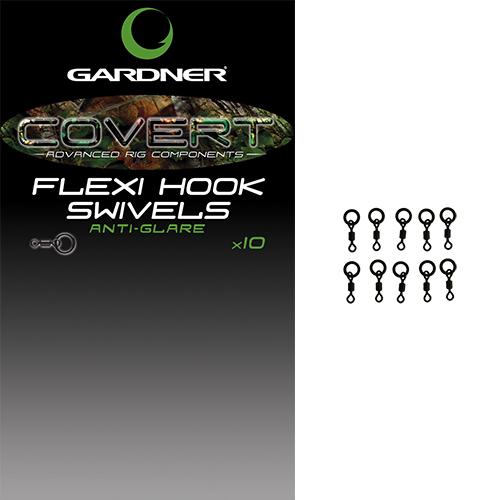 Gardner obratlíky covert flexi hook swivels 10 ks velikost 20