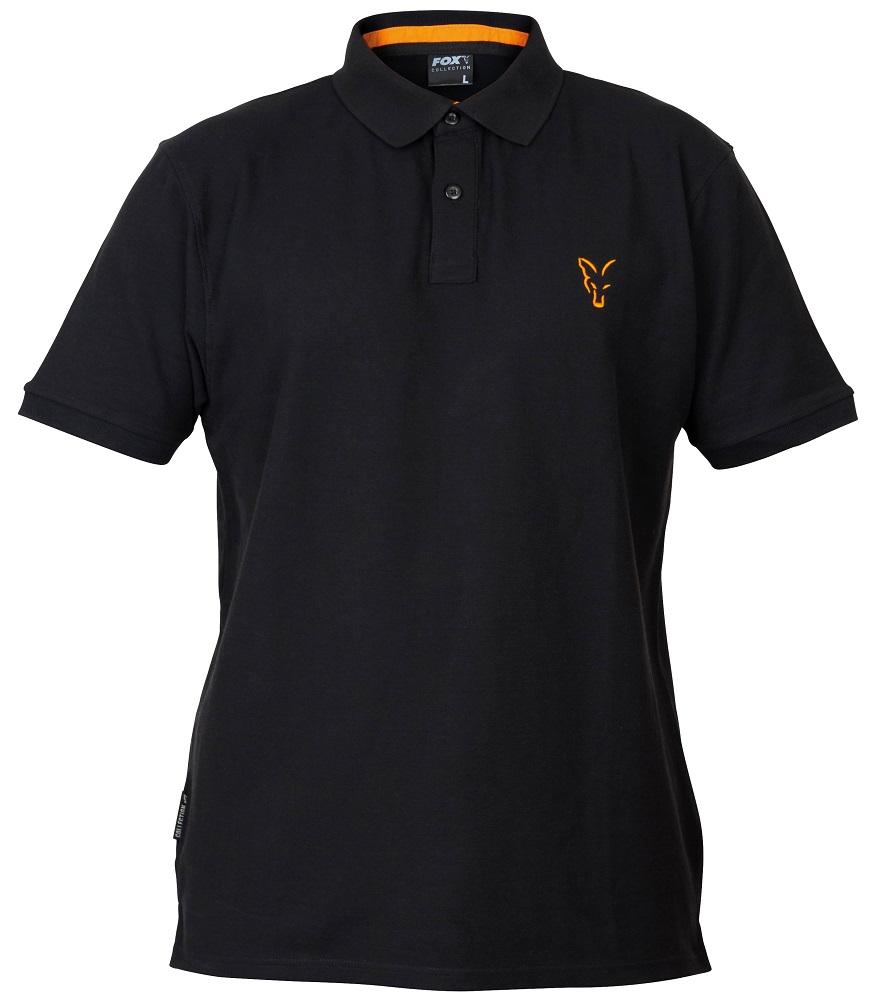 Fox triko collection black orange polo shirt-velikost m