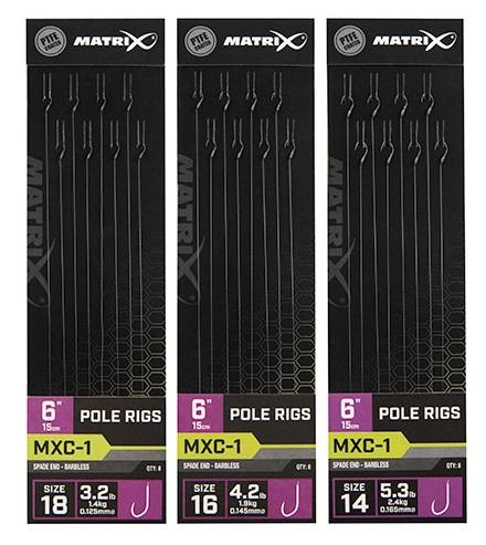 """Matrix návazec mxc-1 6"""" pole rigs - velikost háčku 18 nosnost 1,4 kg"""