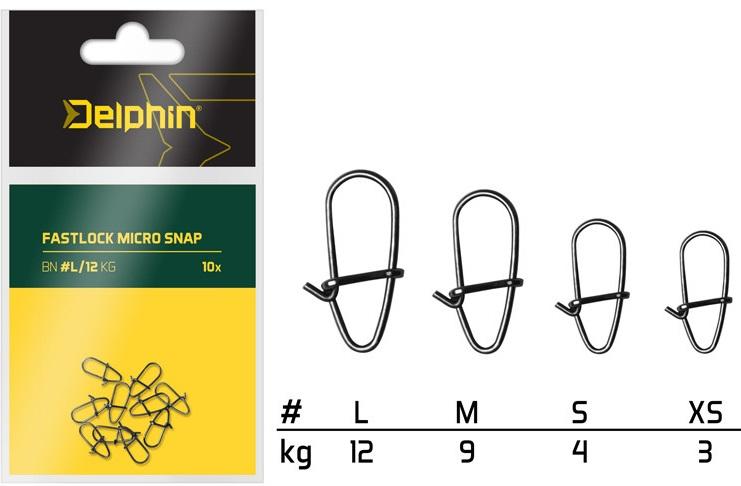 Delphin karabinka fastlock micro snap 10 ks-velikost l nosnost 12 kg