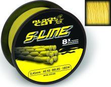 Black Cat Splétaná Šňůra S-Line Žlutá-Průměr 0,55 mm / Nosnost 70 kg / Návin 450 m
