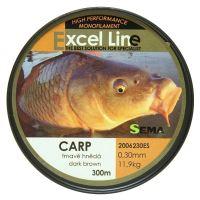 Sema Vlasec Excel Carp 300 m Hnědá-Průměr 0,33 mm / Nosnost 13,1 kg