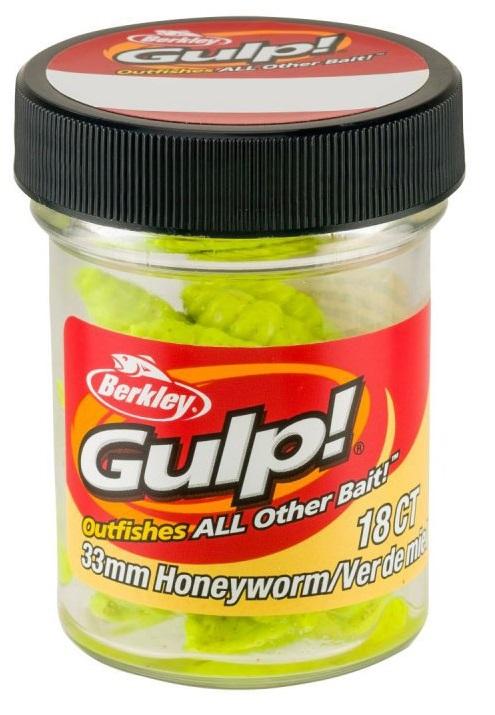 Berkley umělé nástrahy gulp honey worm-chartreuse 3,3 cm