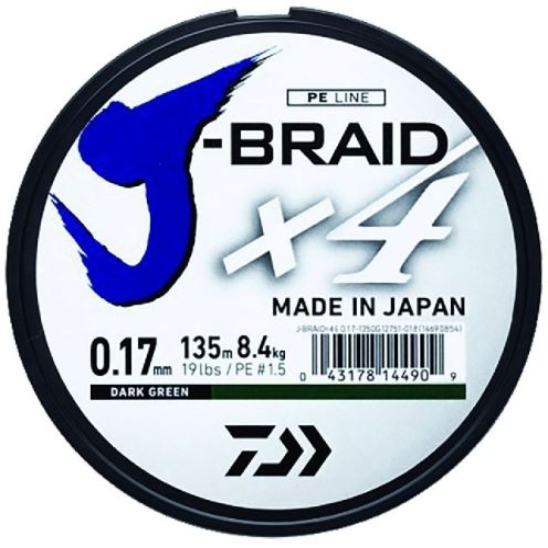 Daiwa Splétaná Šňůra J-Braid 4 Žlutá 270 m