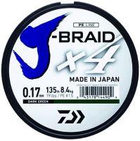 Daiwa Splétaná Šňůra J-Braid 4 Tmavě Zelená 135 m-Průměr 0.29 mm / Nosnost 18,6 kg