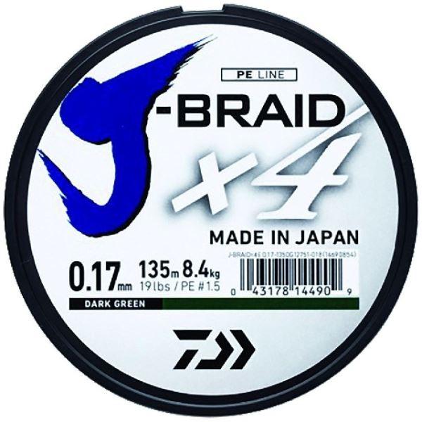 Daiwa Splétaná Šňůra J-Braid 4 Tmavě Zelená 135 m