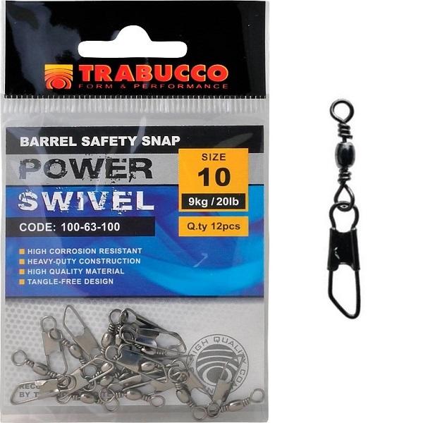 Trabucco obratlík s karabinou barbel safety snap 12 ks-velikost 12